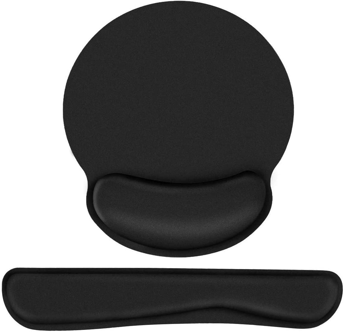 AODOOR Keyboard Wrist Rest Mouse Pad Wrist Support, Memory Foam Ergonomic Wrist Pain Relief, Non Slip Rubber Base, Great for Office Computer Mac MacBook Pro Laptop, 2 Pack, Black