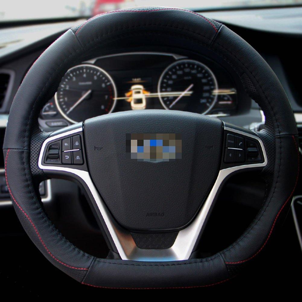 Generic Dタイプ本革ハンドルカバーwithスポーツカーブforフォルクスワーゲンVWゴルフ7 Polo Passat 2014 2015 2016 2017、Nissan Rogue 2017 B01MXH62I6
