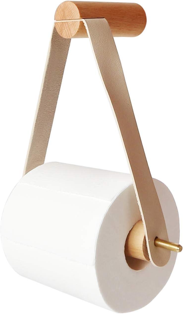 PUPOUSE Toilet Paper Holder Wooden Toilet Roll Holder for Toilet Bathroom Retro Wall Mount Roll Holder Bathroom Vintage Decoration (01)