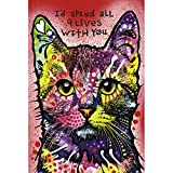 Ingooood- Jigsaw puzzle- Painting Series- Colourful Cat 'I'd Spend All 9 Lives With You' by Dean Russo- 1000 Pieces for Adult Grown Ups Wooden Puzzles Decoration Toys