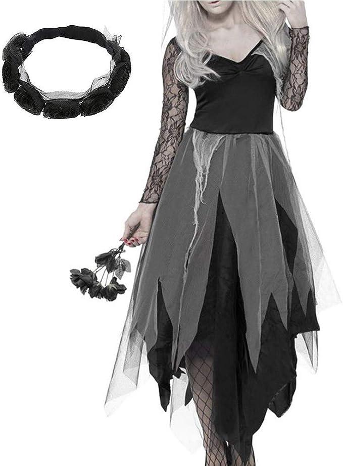 Disfraz de novia de cementerio para mujer, disfraz de zombi negro ...