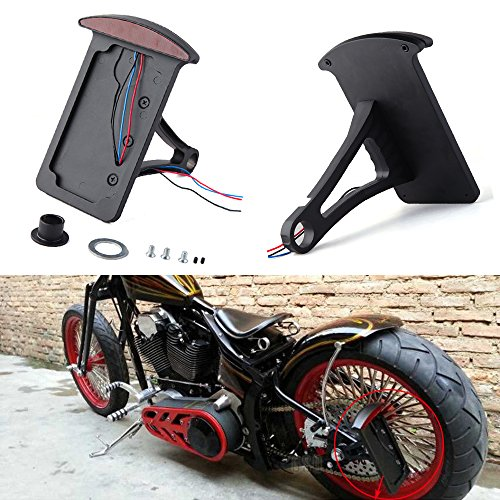 (Billet Aluminum Motorcycle Side Mount License Plate Frame Bracket Brake Tail Light for Bobber Chopper Harley (Black))