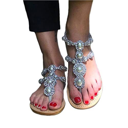 876ce6d7d120 azmodo Women s Rhinestones Pearl T-Tied Flats Sandals 1625-5  Amazon.co.uk   Shoes   Bags