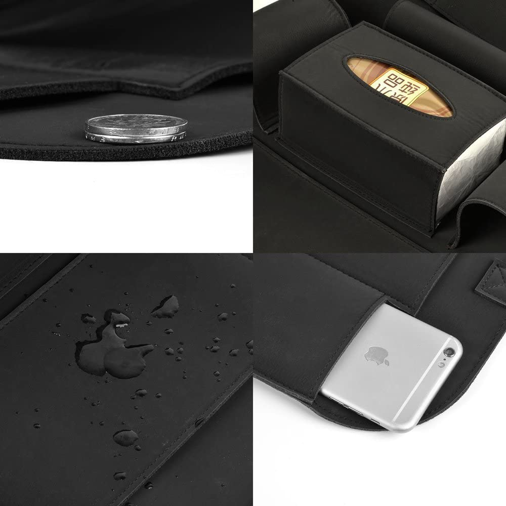 HONCENMAX Car Seat Back Organizer Pocket Backseat Protector Storage Kick Mat Ipad Mini Holder Iphone Cup Holder Umbrella Tissue Box Great Travel Accessory PU Leather 2 Packs