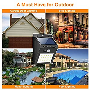 DEMEU Solar energy projector lamp. 20 LED lights, 4 packaging, SolarWallLight outdoor waterproof lighting, can be used for garden, fence, stair, yard or driveway.