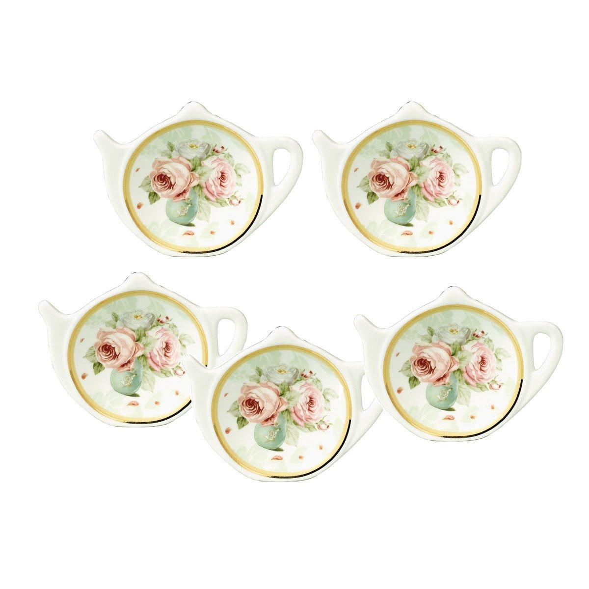 White Porcelain Ceramic with Flower Trim Gold Rim Teapot-Shaped Tea Bag Holder Tea Bag Coasters, Spoon Rests; Classic Tea Saucer Seasoning Dish Set by Linlins (Image #1)