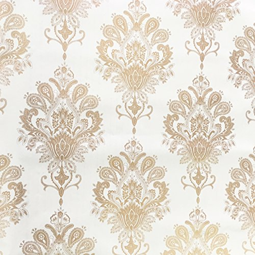 SimpleLife4U Luxury Gold Damask Contact Paper Removable Shelf Liner Adhesive Cabinet Sticker 17.7 Inch by 9.8 Feet