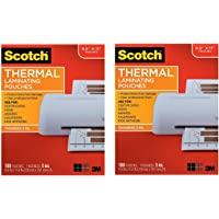 $39 » Scotch Brand Thermal Laminating Pouches, 100-Pack, 8.9 x 11.4 inches, Letter Size Sheets, Clear, 5 Mil Thick for Extra Protection (TP5854-100) - 2…
