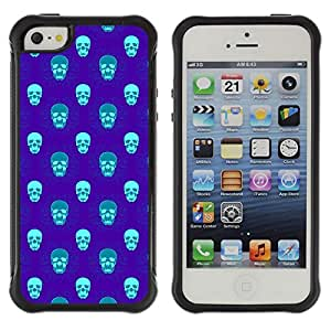 Qstar Arte & diseño Anti-Slip Shockproof TPU Fundas Cover Cubre Case para Apple iPhone 5 / Apple iPhone 5S (Blue Skull)