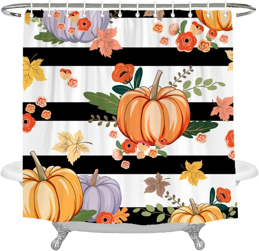 72 x 72 Inches Wencal Pumpkin Shower Curtain Fall Autumn Maple Leaves Black and White Striped Bathroom Decor with Hooks