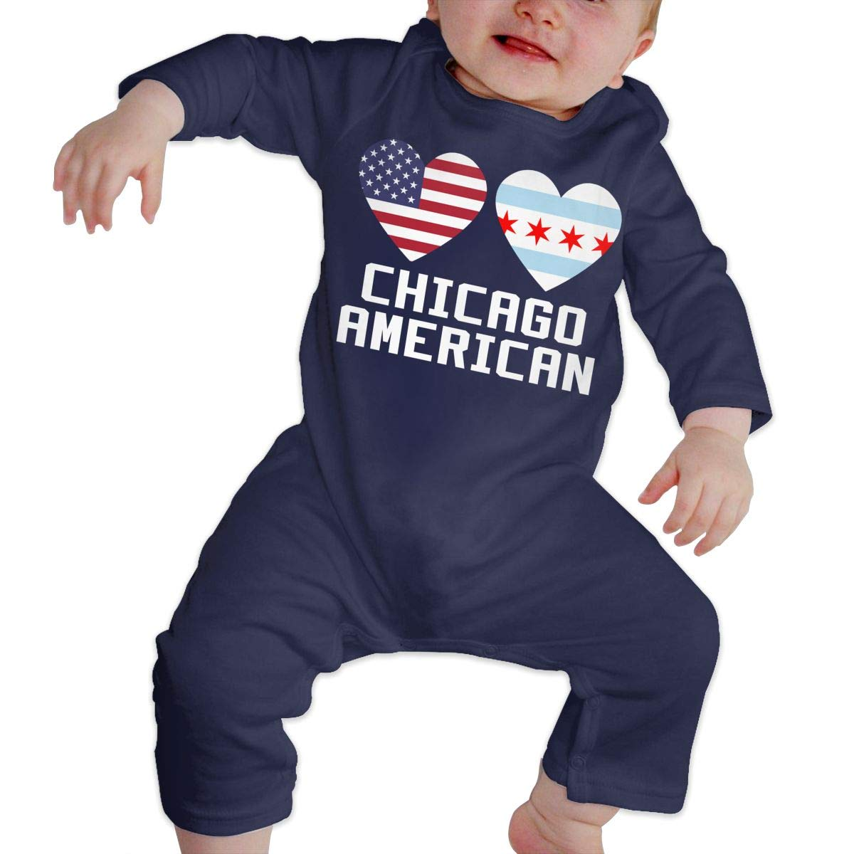 LBJQ8 Chicago American Hearts Infant Baby Girl Boys Essential Basic Bodysuits Coverall Jumpsuit
