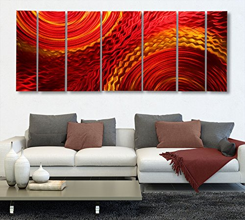Huge Abstract Red, Yellow, Orange Earth-toned Metallic Wall Painting -
