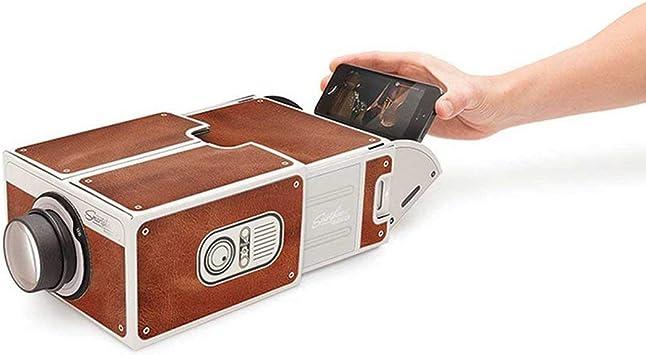 Opinión sobre Mini Cartulina portátil Proyector de teléfono Inteligente Proyección de teléfono móvil 2.0 para Cine en casa Proyector de Audio y Video - Marrón
