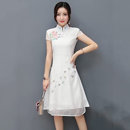 87ef9ebe1ad Lady's Dress Women Cheongsam Qipao Evening Chinese Dress Short Sleeve  Flowers Pattern Slim Skirt Wedding Gown