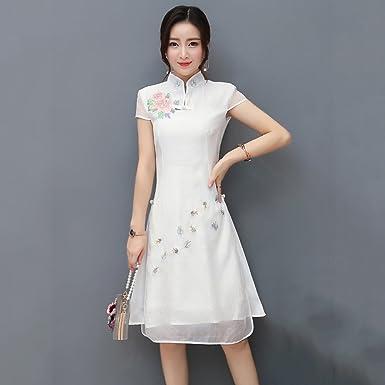 Femmes Cheongsam Qipao Robe de soirée Chinoise à Manches Courtes Fleurs  Motif Slim Jupe Robe de a63625593e22