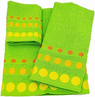 Confort Home M.T (Pistacho BOLAS) Juego de toallas de baño 3 piezas (1