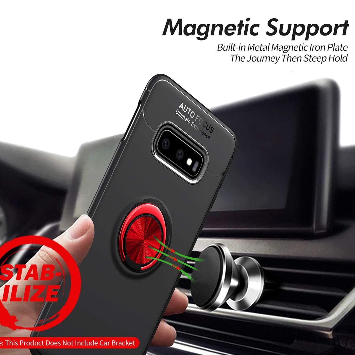 Newseego Compatible with Galaxy S10e Case,360/° Adjustable Ring Stand,Frosting Thin Soft Protective and Finger Ring Holder Kickstand Fit Magnetic Car mount for Samsung Galaxy S10e-Black+Red