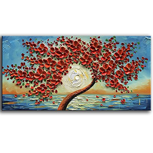 - baccow Abstract Red Paintings 2448,3D Flower Artwork Wall Decor Red, Hand Painted Framed Wall Decorations for Living Room Bedroom Dining Room Bathroom Office