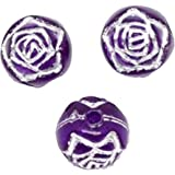 Charm Buddy 100 X 8mm Purple Foil Rose Flower Craft Beads Charms for Jewellery Making Beading Arts Crafts