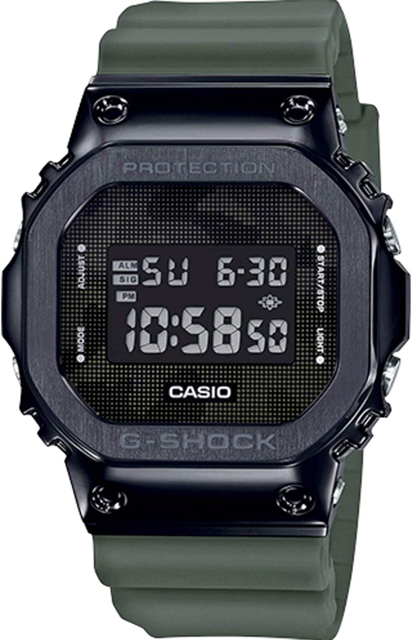 Men s Casio G-Shock Digital Black Ion-Plated Metal Bezel Camo Dial Watch GM5600B-1