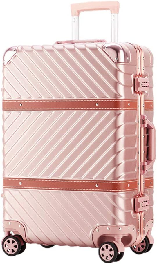 Mesurn Rose Gold Travel Trolley Case Automatic Rebound Handle Sturdy and Wear-Resistant Abs Material Anti-Collision Corner Multi-Size Suitcase