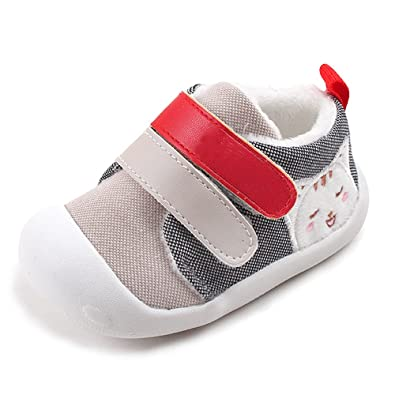 6a562fa0ace3 KINDOYO Newborn Baby Pre-Walker Canvas Anti-Slip Boots Boys Girls Infants  Soft First