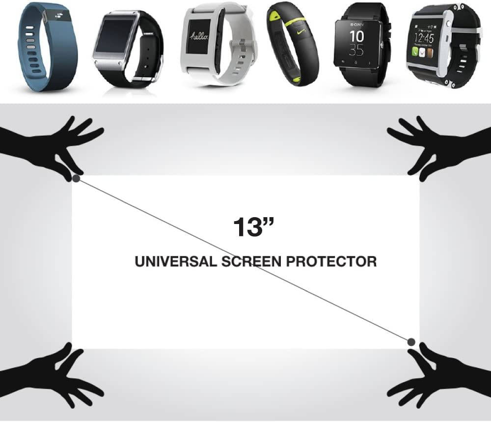 """RED SHIELD Universal Screen Protector 13"""" for Tablet, Set of 3, Smartphone Smartwatch Gaming Device & GPS, High Definition Crystal Clear Anti-Scratch Anti-Fingerprint Film, Easy Cut with Guidelines"""
