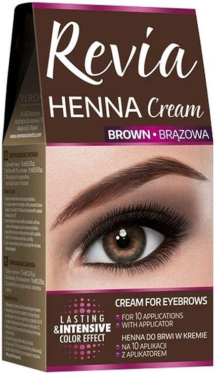 Revia Henna Tinte negro o marrón, tubo de crema, para Cejas y Pestañas, 10 aplicaciones
