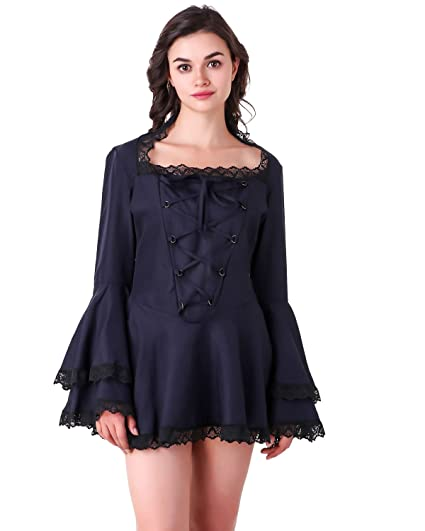 1bcac046 Amazon.com: Women's Gothic Victorian Steampunk Vampire Cosplay Costume Bell  Sleeves Short Sexy Dress: Clothing