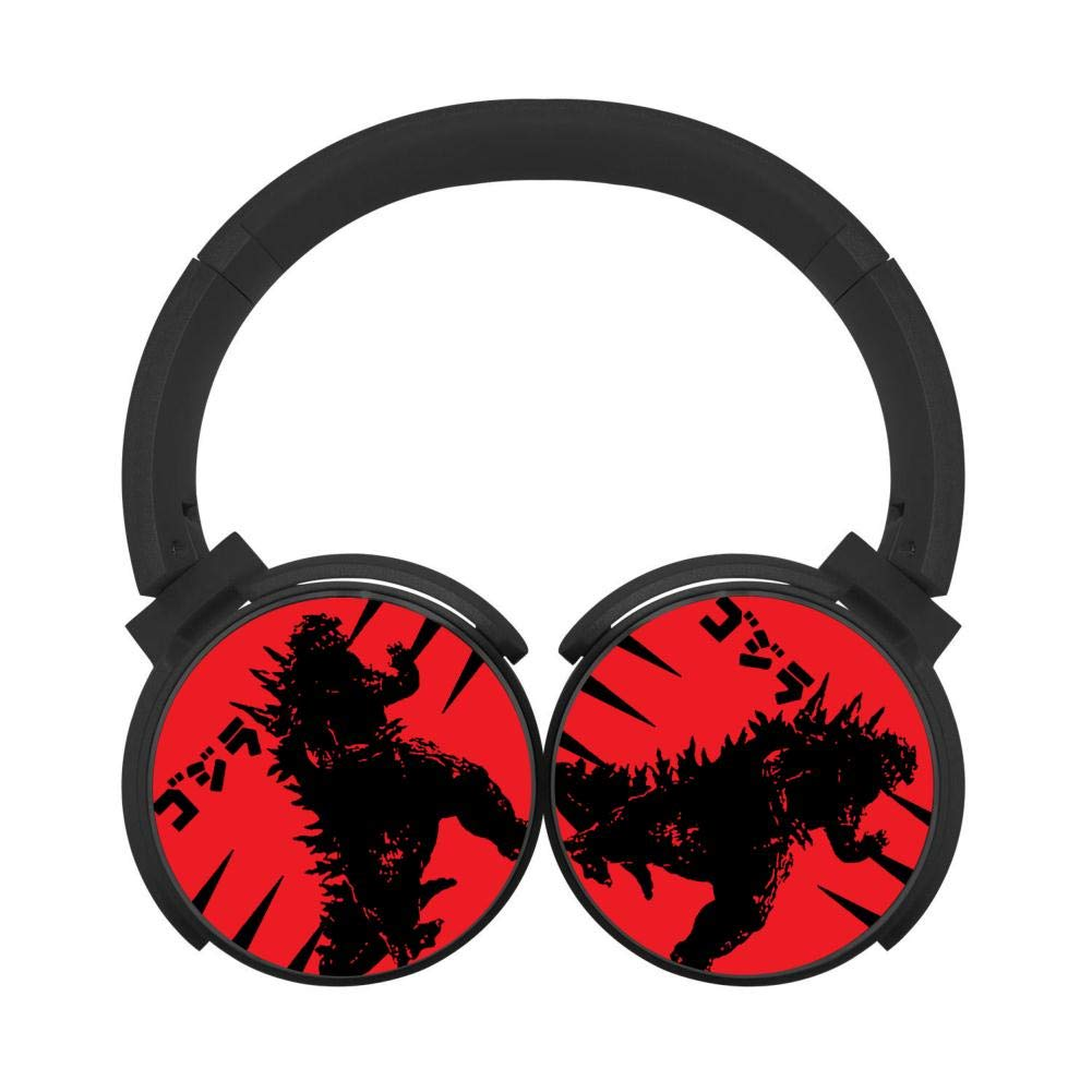 Mobile Wireless Bluetooth Headset Godzilla 3D Printing Over Ear Headphones Black