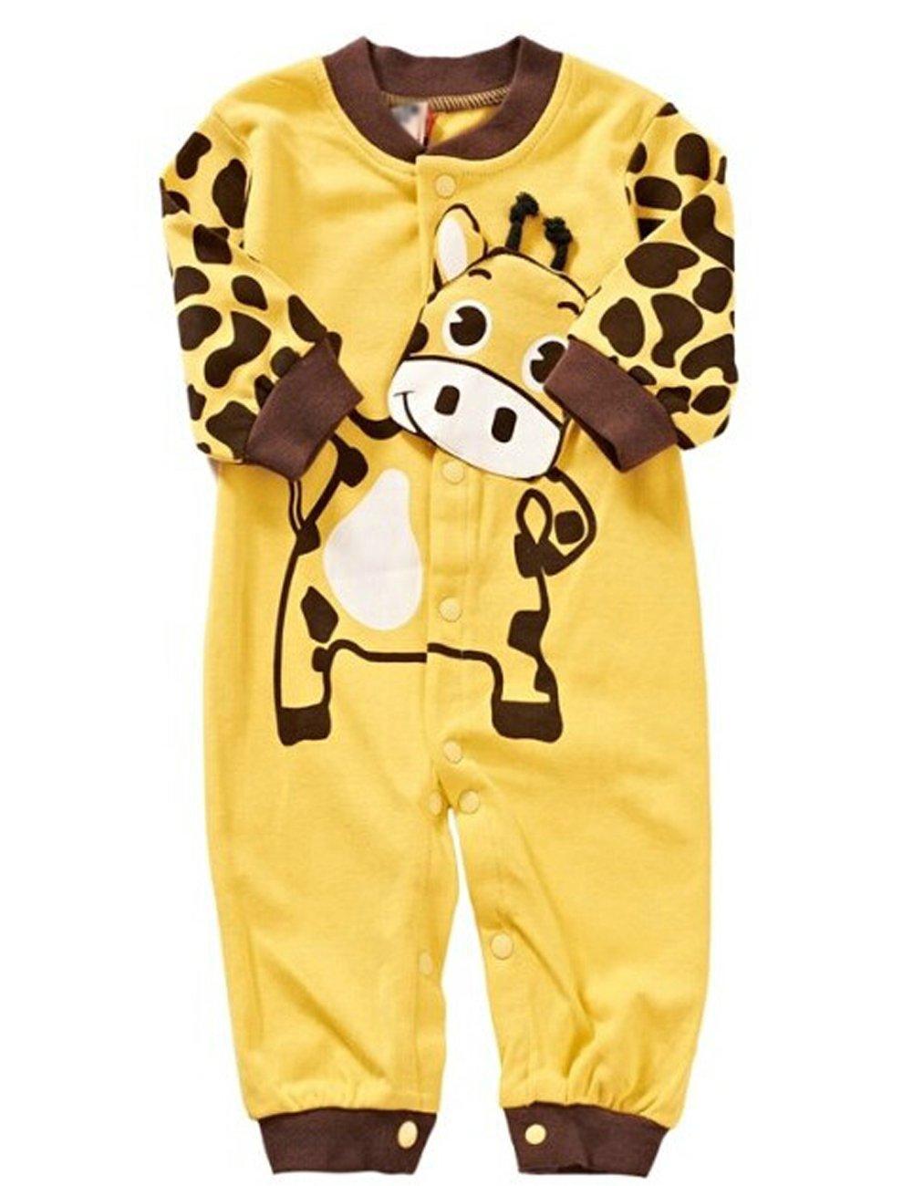 Cute Newborn Infant Girl Boy Long Sleeve Romper Clothes Pajamas Nightwear (80(3-6Months), Yellow ground)