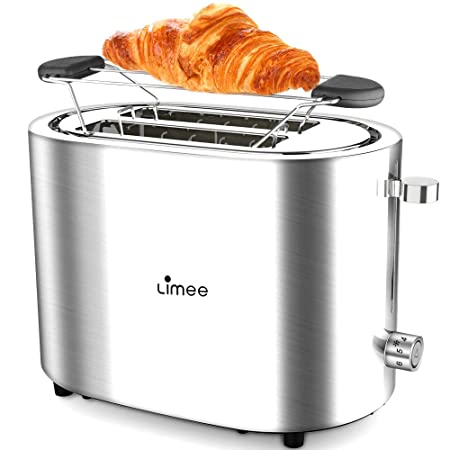 2 Slice Toaster- Stainless Steel Toaster with 6-Shade Control Pop Up Reheat Defrost Cancel Function, Removable Crumb Tray Extra Baking Rack, Cool Touch Compact Bread Toasters for Bagel Bread, Chrome Silver