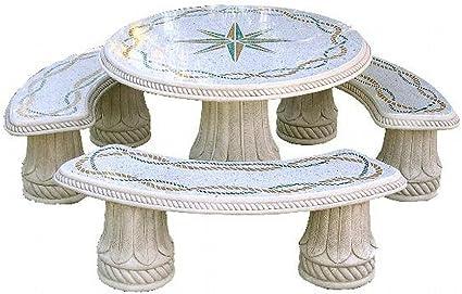 Tavoli Di Pietra Da Giardino.Tavoli In Pietra Da Esterno Isla Del Rey Diam Cm210x76h Completo