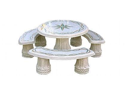 Tavoli In Granito Da Esterno.Tavoli In Pietra Da Esterno Isla Del Rey Diam Cm210x76h Completo Di