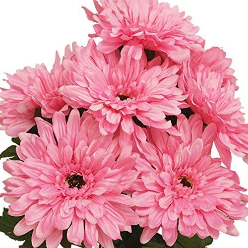 28 Gerbera Daisy Flowers Bush Wedding Vase Centerpiece Decor -Pink
