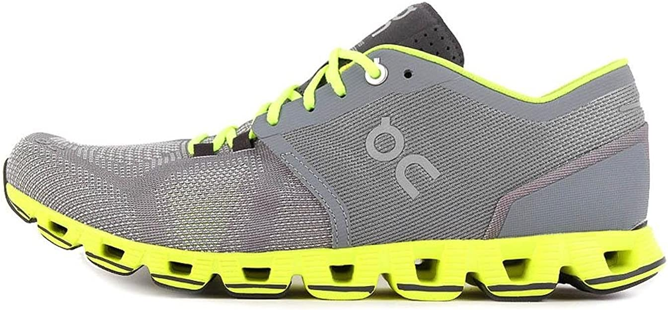 On Running Mens Cloud X Mesh Grey Neon Trainers 7.5 US