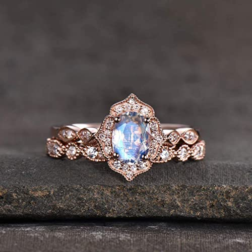 Rainbow Moonstone 5 x 7 MM /& CZ Halo Cluster Gorgeous Women Ring