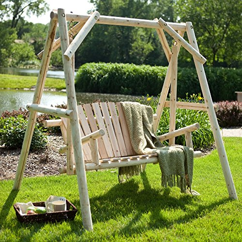 Coral Coast Rustic Natural Log Curved Back Porch Swing an...