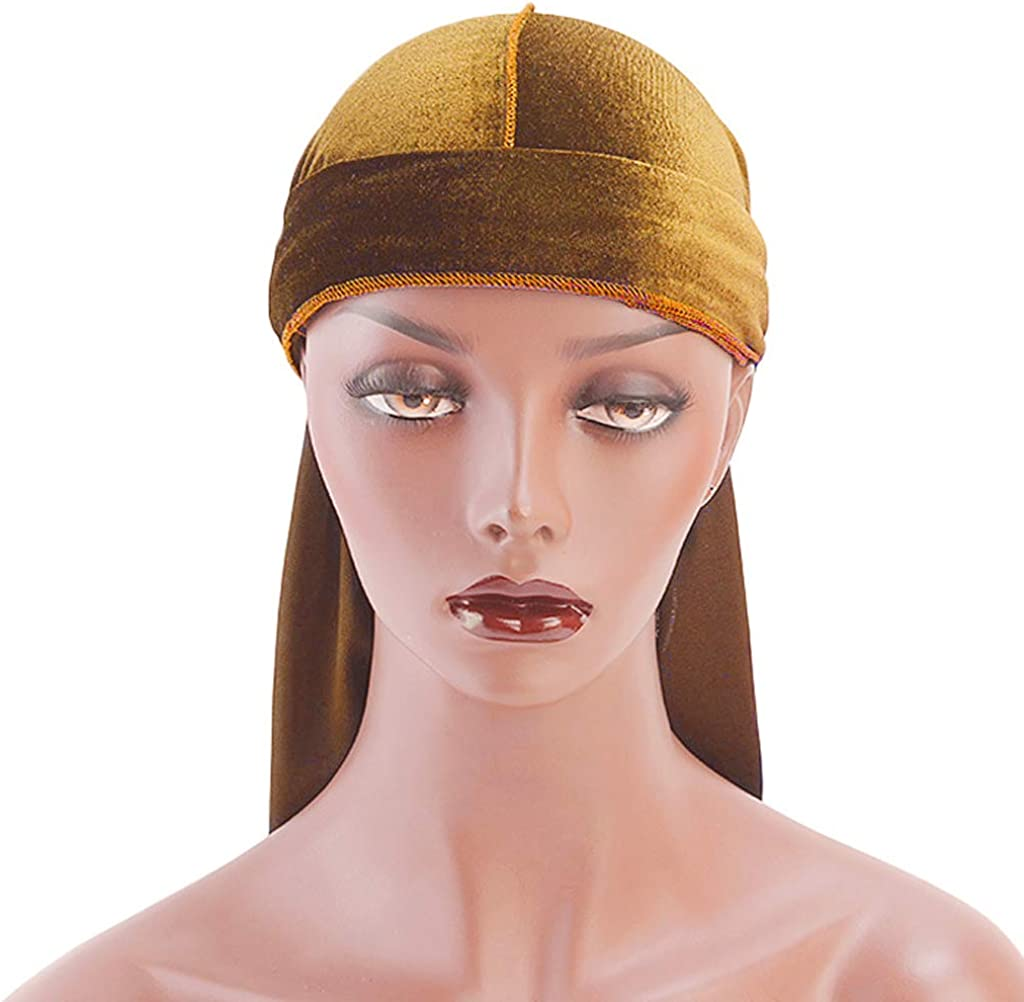 IPOTCH Unisex Adults Soft Breathable Bandana Hat Velvet Durag Long Headwrap Long Tail Chemo Cap