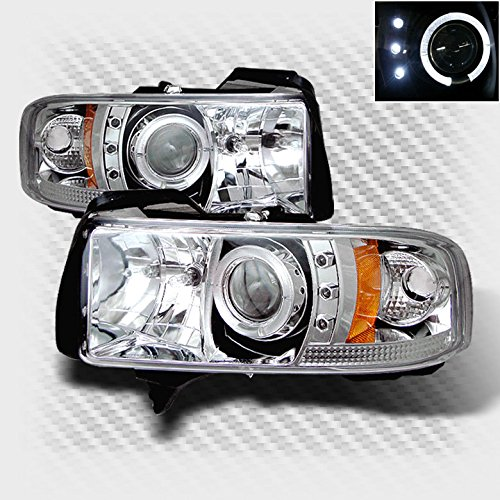 Xtune 1994-2001 Dodge Ram Halo LED Projector Headlights Head Lights Lamp Set Pair Left+Right 1995 1996 1997 1998 1999 2000 - Dodge Neon Halo Headlights