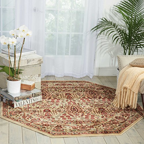 Nourison Persian Arts (BD08) Ivory Octagon Area Rug, 5-Feet 3-Inches by 5-Feet 3-Inches (5'3