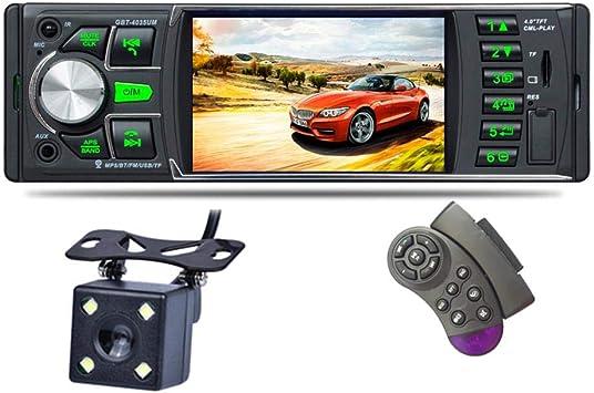 Reproductor video video mp5, 4.0 pulgadas y 1 din. Reproductor radio FM auto Pantalla LCD alta definición Reproductor de audio y auto automóvil con retroiluminación a color 7 IR Cámara visión trasera: