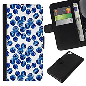 KLONGSHOP // Tirón de la caja Cartera de cuero con ranuras para tarjetas - Blueberry Acuarela Porcelana Azul - HTC Desire 820 //