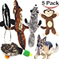 Jalousie 5 pack dog squeaky toys 3 No stuffing plush 2 animal for small medium large dog pets