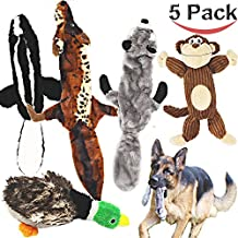 Jalousie 5 pack dog squeaky toys three no stuffing toy and two plush with stuffing for small medium large dog pets