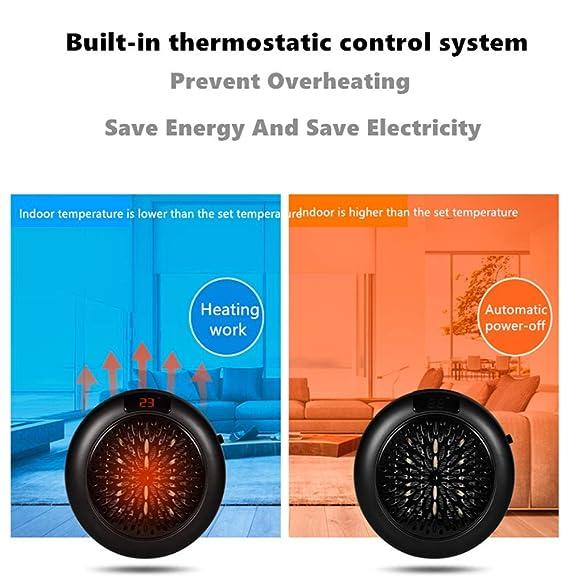 Calefactor Handy Heater de Espacio Portátil Mini Calentador Electrico 1000W Estufa Eléctrica Temperatura Regulable Montado Pared Warmer Máquina (Negro): ...