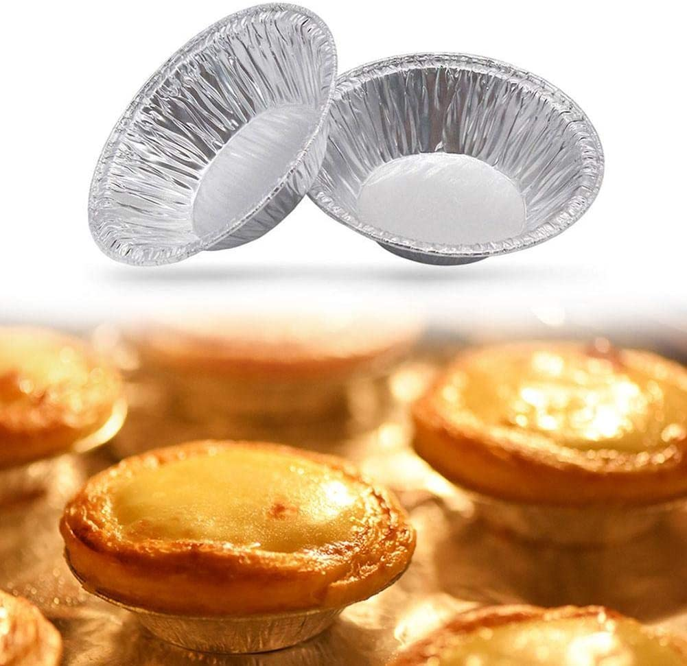 100 Pcs Disposable Aluminum Foil Egg Tart Cases Mini Muffin Cups Pie Pans Bake Cake Dishes Custard Tart Foil Cases Cupcake Cookie Pudding Moild Plate Tin Tray Pastry Dish Aluminium Mold Cups Baking