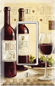 Graphics Wallplates - Glassess and Wines - Single Rocker/GFCI Outlet Wall Plate Cover