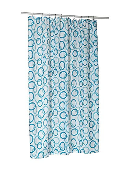 Carnation Home Fashions Blue Circles Stall Printed Fabric Shower Curtain 54 Inch By 78