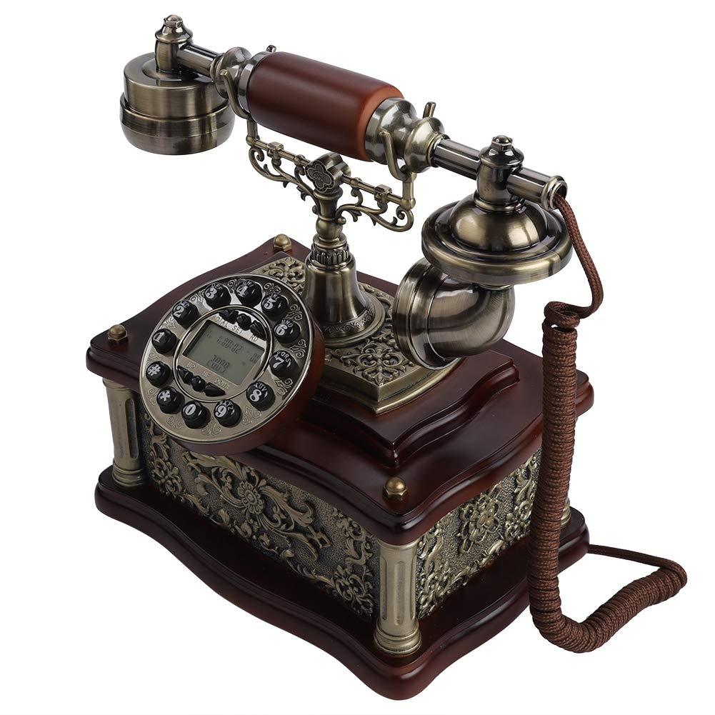 Klassisches Holz Festnetztelefone Retro Vintage Telefon mit LCD-Display W/ählscheibe Antik Festnetz FSK//DTMF Telefon Automatische IP Home Telefon Festnetztelefon Bewinner Retro Telefon